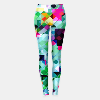 Thumbnail image of geometric square pixel pattern abstract in green pink blue yellow Leggings, Live Heroes
