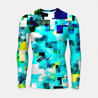 Thumbnail image of geometric square pixel pattern abstract in blue and yellow Longsleeve rashguard , Live Heroes
