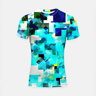 Thumbnail image of geometric square pixel pattern abstract in blue and yellow Shortsleeve rashguard, Live Heroes
