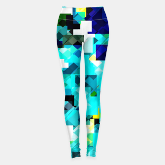 Thumbnail image of geometric square pixel pattern abstract in blue and yellow Leggings, Live Heroes