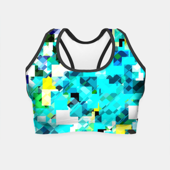 Thumbnail image of geometric square pixel pattern abstract in blue and yellow Crop Top, Live Heroes