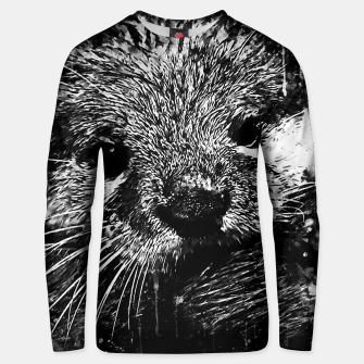 Thumbnail image of gxp furry fish otter splatter watercolor black white Unisex sweater, Live Heroes