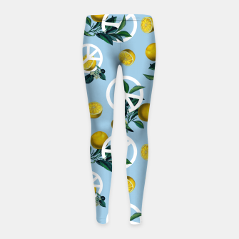 Thumbnail image of Peace Symbol and Lemon Patterns Girl's leggings, Live Heroes