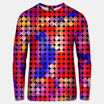 Thumbnail image of geometric circle pattern abstract in red and blue Unisex sweater, Live Heroes