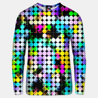 Thumbnail image of geometric circle pattern abstract in blue pink yellow Unisex sweater, Live Heroes