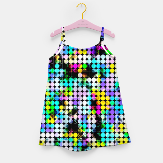 Thumbnail image of geometric circle pattern abstract in blue pink yellow Girl's dress, Live Heroes