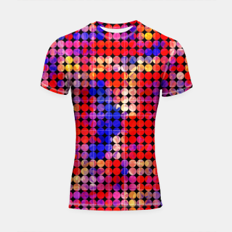 Thumbnail image of geometric circle pattern abstract in red and blue Shortsleeve rashguard, Live Heroes