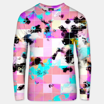 Thumbnail image of geometric square pattern abstract in pink blue Unisex sweater, Live Heroes