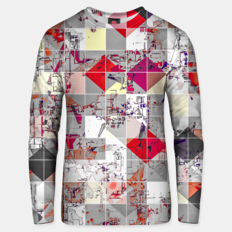 Thumbnail image of geometric square pixel pattern abstract in purple orange red Unisex sweater, Live Heroes