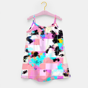 Thumbnail image of geometric square pattern abstract in pink blue Girl's dress, Live Heroes