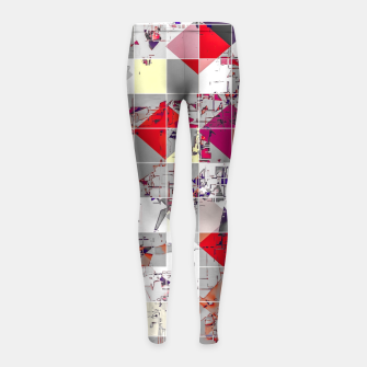 Thumbnail image of geometric square pixel pattern abstract in purple orange red Girl's leggings, Live Heroes