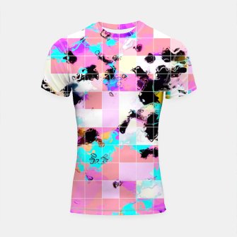 Thumbnail image of geometric square pattern abstract in pink blue Shortsleeve rashguard, Live Heroes