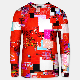 Thumbnail image of geometric square pixel pattern abstract in red blue pink Unisex sweater, Live Heroes
