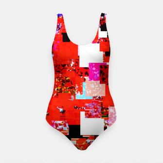 Thumbnail image of geometric square pixel pattern abstract in red blue pink Swimsuit, Live Heroes