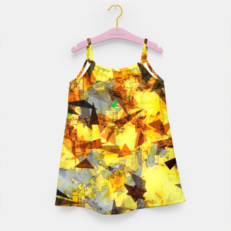 Thumbnail image of geometric triangle pattern abstract in yellow brown black Girl's dress, Live Heroes