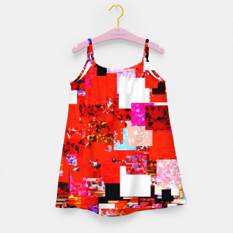 Thumbnail image of geometric square pixel pattern abstract in red blue pink Girl's dress, Live Heroes