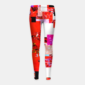 Thumbnail image of geometric square pixel pattern abstract in red blue pink Girl's leggings, Live Heroes