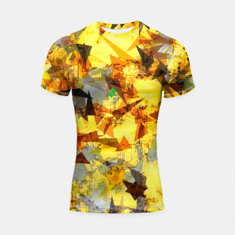 Thumbnail image of geometric triangle pattern abstract in yellow brown black Shortsleeve rashguard, Live Heroes