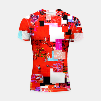 Thumbnail image of geometric square pixel pattern abstract in red blue pink Shortsleeve rashguard, Live Heroes