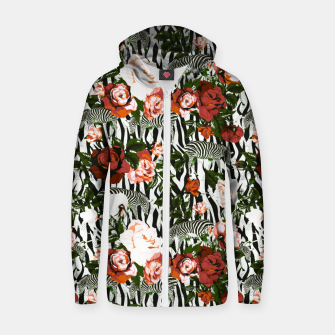 Thumbnail image of Zebras among roses Sudadera con capucha y cremallera , Live Heroes