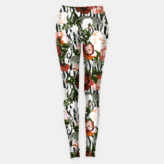 Thumbnail image of Zebras among roses Leggings, Live Heroes