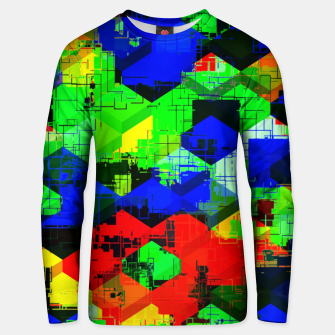 Thumbnail image of geometric square pattern abstract in green blue red Unisex sweater, Live Heroes
