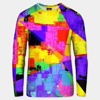 Thumbnail image of geometric triangle abstract background in purple blue pink yellow Unisex sweater, Live Heroes