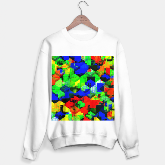 Miniature de image de geometric square pattern abstract in green blue red Sweater regular, Live Heroes