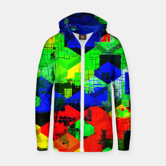 Miniature de image de geometric square pattern abstract in green blue red Zip up hoodie, Live Heroes