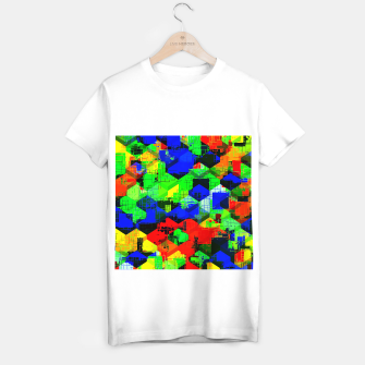 Miniature de image de geometric square pattern abstract in green blue red T-shirt regular, Live Heroes