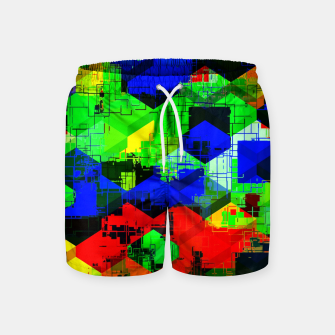 Miniature de image de geometric square pattern abstract in green blue red Swim Shorts, Live Heroes