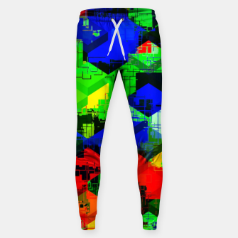 Miniature de image de geometric square pattern abstract in green blue red Sweatpants, Live Heroes