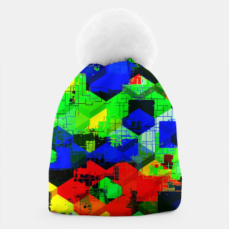 Miniature de image de geometric square pattern abstract in green blue red Beanie, Live Heroes
