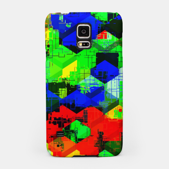 Miniature de image de geometric square pattern abstract in green blue red Samsung Case, Live Heroes