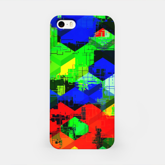 Miniature de image de geometric square pattern abstract in green blue red iPhone Case, Live Heroes