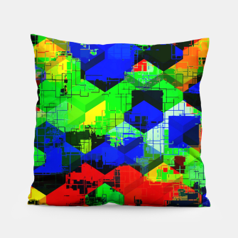 Miniature de image de geometric square pattern abstract in green blue red Pillow, Live Heroes