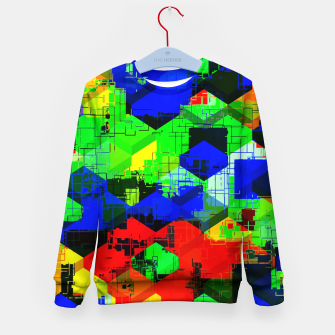 Miniature de image de geometric square pattern abstract in green blue red Kid's sweater, Live Heroes