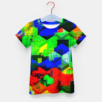 Miniature de image de geometric square pattern abstract in green blue red Kid's t-shirt, Live Heroes