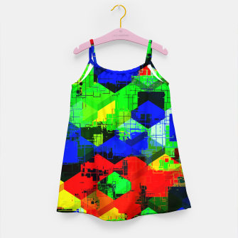 Thumbnail image of geometric square pattern abstract in green blue red Girl's dress, Live Heroes