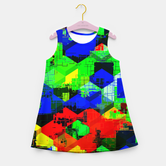 Miniature de image de geometric square pattern abstract in green blue red Girl's summer dress, Live Heroes