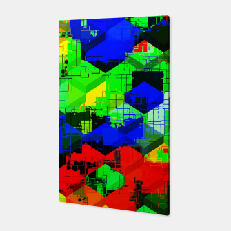Miniature de image de geometric square pattern abstract in green blue red Canvas, Live Heroes