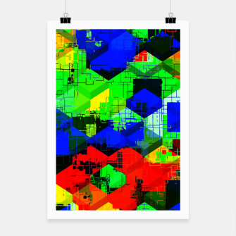Miniature de image de geometric square pattern abstract in green blue red Poster, Live Heroes