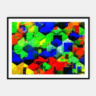 Miniature de image de geometric square pattern abstract in green blue red Framed poster, Live Heroes