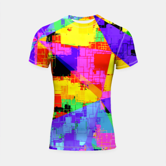 Thumbnail image of geometric triangle abstract background in purple blue pink yellow Shortsleeve rashguard, Live Heroes