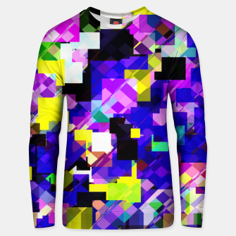 Thumbnail image of geometric square pixel pattern abstract in blue yellow pink Unisex sweater, Live Heroes