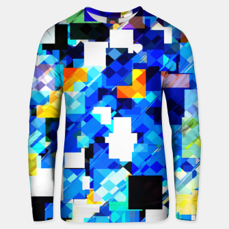 Thumbnail image of geometric square pixel pattern abstract in blue brown Unisex sweater, Live Heroes