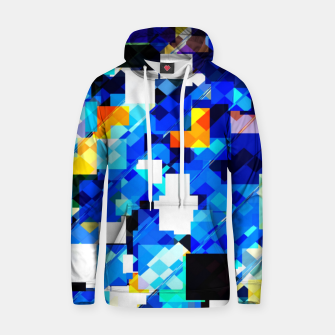 Thumbnail image of geometric square pixel pattern abstract in blue brown Hoodie, Live Heroes