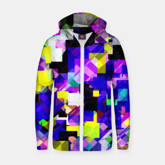 Thumbnail image of geometric square pixel pattern abstract in blue yellow pink Zip up hoodie, Live Heroes