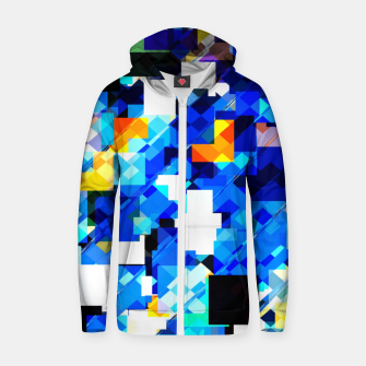 Thumbnail image of geometric square pixel pattern abstract in blue brown Zip up hoodie, Live Heroes