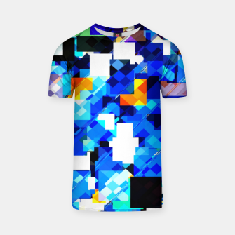 Thumbnail image of geometric square pixel pattern abstract in blue brown T-shirt, Live Heroes